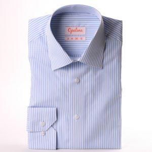 Chemise blanche rayée bleu clair